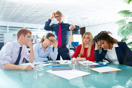 woman boss: business meeting sad expression bad negative gesture young teamwork
