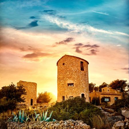 alicante: Javea Xabia el molins at sunset in Mediterranean Alicante at Spain
