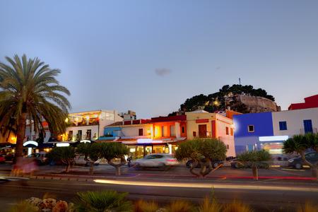 alicante: Denia old village sunset dusk in Mediterranean Alicante Spain Europe