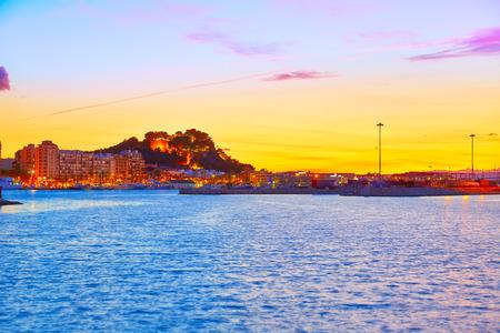 alicante: Denia sunset village skyline at dusk in Alicante at spain