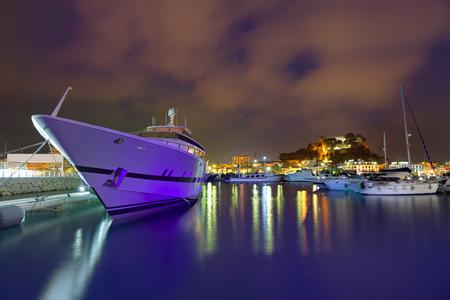 alicante: Denia port sunset dusk in marina at Alicante Spain Stock Photo