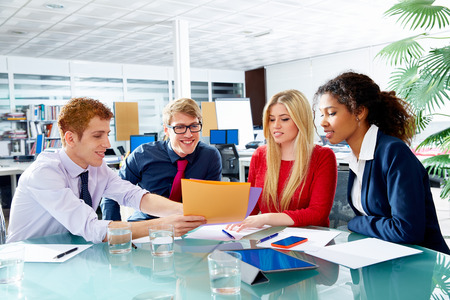 female executive: Executive business people team meeting at office teamwork young multiracial