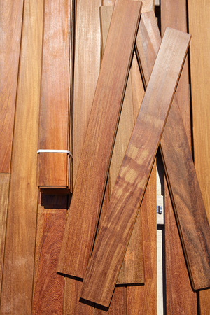 fasteners: Ipe teak decking deck wood installation clips fasteners Stock Photo