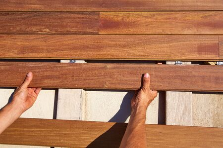 decking: Ipe teak decking deck wood installation clips fasteners Stock Photo