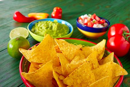 gallo: Mexican food nachos guacamole pico de gallo and chili peppers sauces