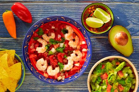 Ceviche de Camaron shrimp with nachos and guacamole mexican food