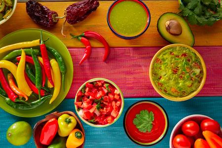 mexican food: Mexican food mixed guacamole nachos chili sauce dipping cheddar cheese lemon pico de gallo