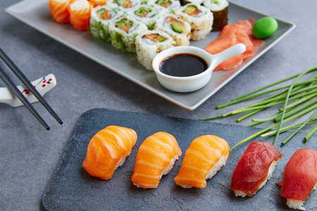 california roll: Sushi Maki and Niguiri California roll soy sauce and wasabi Stock Photo