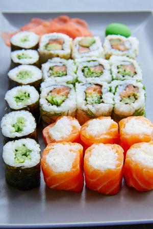 maki sushi: Sushi Maki and Niguiri California roll and wasabi
