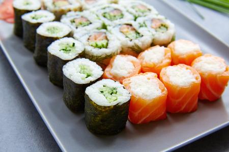 california roll: Sushi Maki and Niguiri California roll food Stock Photo