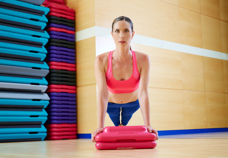 limber: Push up push-ups woman exercise workout at gym indoor