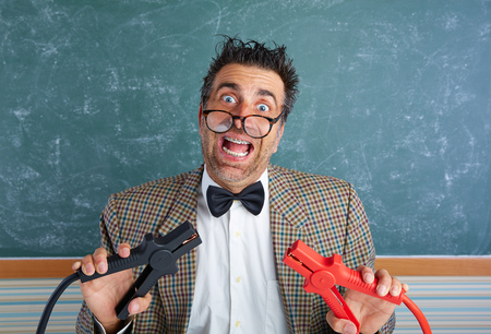 tacky: Nerd electronics technician retro teacher silly expression working battery clamps
