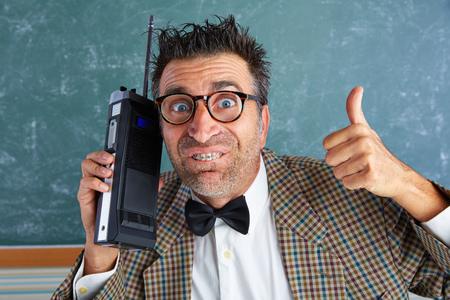 myopic: Nerd silly private investigator with retro walkie talkie on teacher balckboard