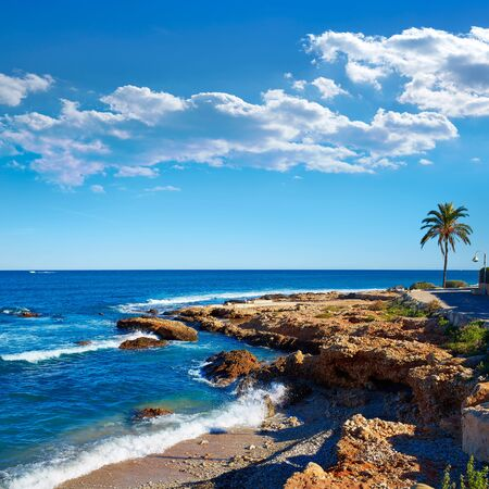 beaches of spain: Denia Las Rotas Rotes beach in Alicante Mediterranean sea of Spain Stock Photo