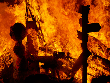 monuments: Fallas fire burning in Valencia fest at March 19 th Spain tradition