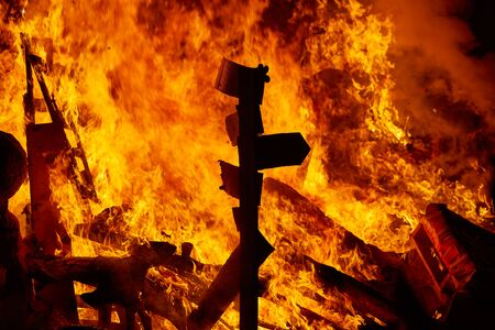 valencia: Fallas fire burning in Valencia fest at March 19 th Spain tradition