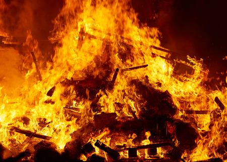 fiesta popular: Fallas fire burning in Valencia fest at March 19 th Spain tradition