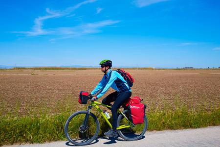 saddlebag: MTB Biker Bicycle touring with pannier racks and saddlebag