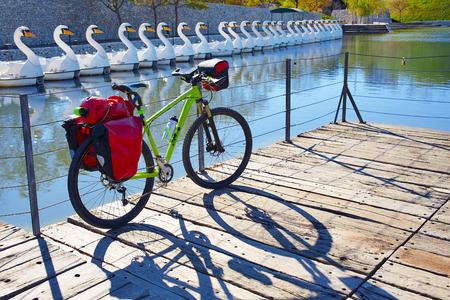 saddlebag: MTB Bicycle touring bike in a park with pannier racks and saddlebag