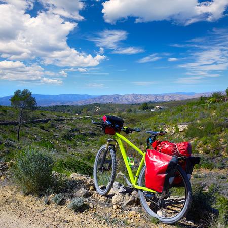 saddlebag: cycling tourism MTB bike in Pedralba Villamarxant Valencia with panniers and saddlebag