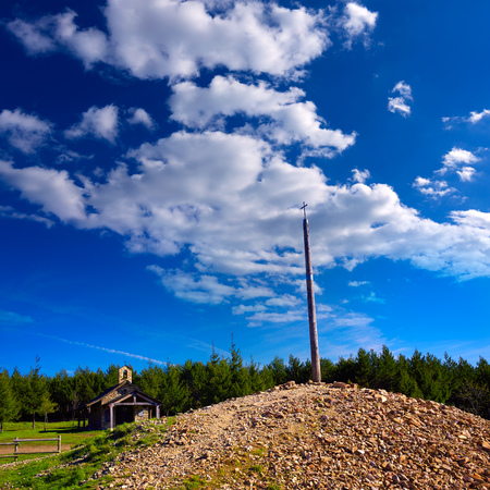 xacobeo: Cruz de Ferro top at Saint James Way Leon Spain Stock Photo