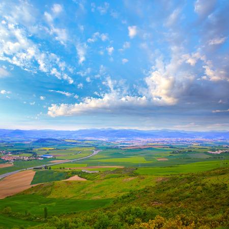 camino de santiago: The way of Saint James track to Alto del Perdon top in Navarra Spain