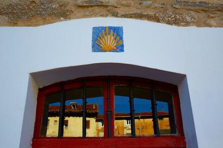 pilgrim journey: The Way of Saint James signs in Belorado Castilla Burgos