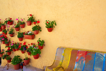 xacobeo: Burgos colorful facade with plants pots and flowers in Castilla Spain