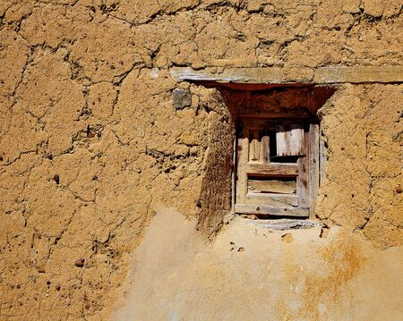 xacobeo: The way of saint James adobe mud walls at Palencia Spain Stock Photo
