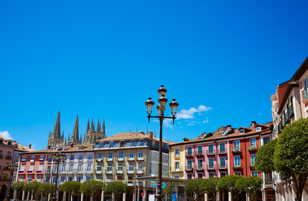 xacobeo: Burgos Plaza Mayor square in Castilla Leon of Spain Stock Photo