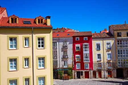 xacobeo: Burgos downtown colorful facades in Castilla Leon of Spain Stock Photo
