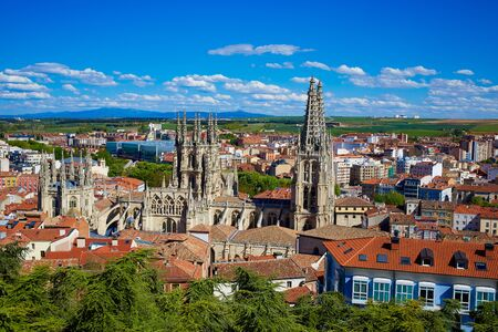 xacobeo: Burgos aerial view skyline with Cathedral in Castilla Leon of Spain