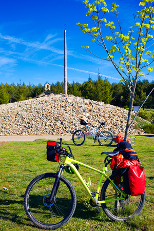 ferro: Cruz de Ferro top at Saint James Way bikes Leon Spain