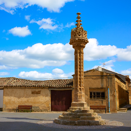 xv century: Boadilla del Camino Gothic rollo by Saint James Way XV century in Castilla Leon Spain