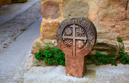 xacobeo: The way of Saint james stone sign in Cirauqui Pamplona Spain Stock Photo