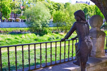 camino de santiago: Burgos paseo espolon park woman statue in Castilla Spain