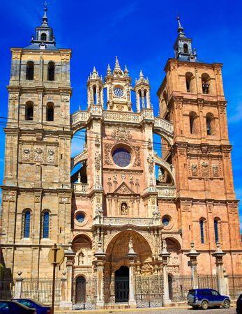 castilla: Astorga cathedral in Way of Saint James at Leon Castilla of Spain