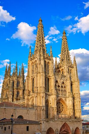 xacobeo: Burgos Cathedral facade in Saint James Way at Castilla Leon of Spain