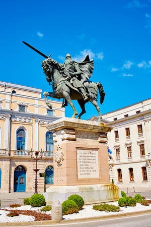 xacobeo: Burgos Cid Campeador statue in Castilla Leon of Spain Stock Photo