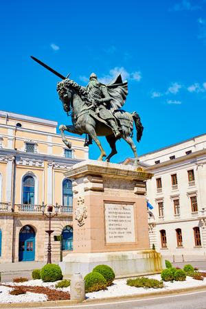 camino de santiago: Burgos Cid Campeador statue in Castilla Leon of Spain Stock Photo