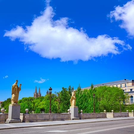 pablo: Burgos San Pablo bridge Statues and Cathedral over Arlanzon river in Castilla Spain