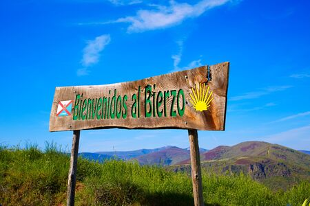 pilgrim journey: Way of Saint James welcome sign to El Bierzo of Leon in Castilla Spain Stock Photo