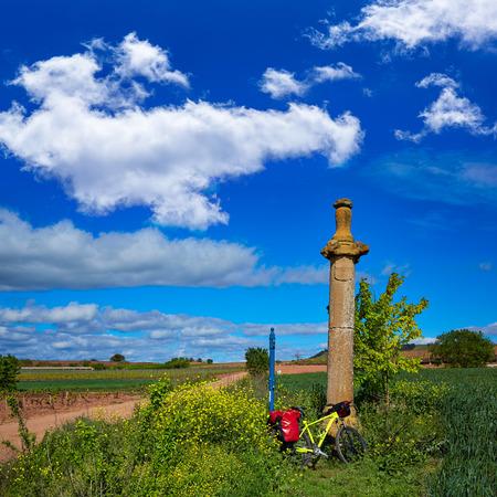 rioja: Azofra Saint James Way cross column monument at La Rioja