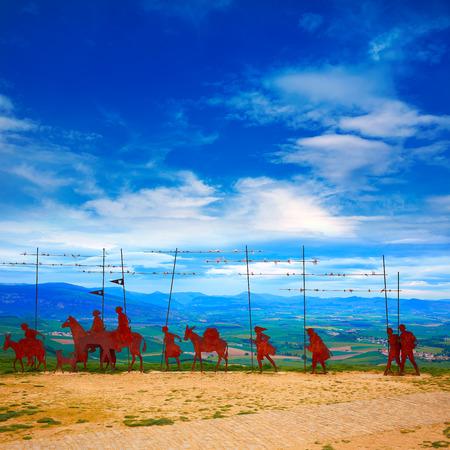 navarra: The way of Saint James Alto del Perdon top with steel sculpture of pilgrims at Navarra Stock Photo