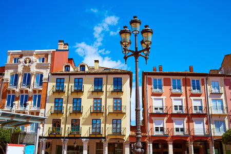 mayor: Burgos Plaza Mayor square in Castilla Leon of Spain Stock Photo