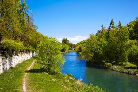 camino de santiago: Burgos Arlanzon river in Castilla Leon of Spain