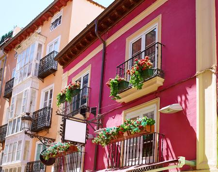 facade: Burgos downtown colorful facades in Castilla Leon of Spain Stock Photo