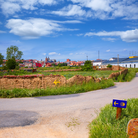 pilgrim journey: Saint James Way sign in Astorga Leon at Castilla of Spain