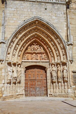 castilla leon: Burgos San Esteban church facade in Castilla Leon of Spain