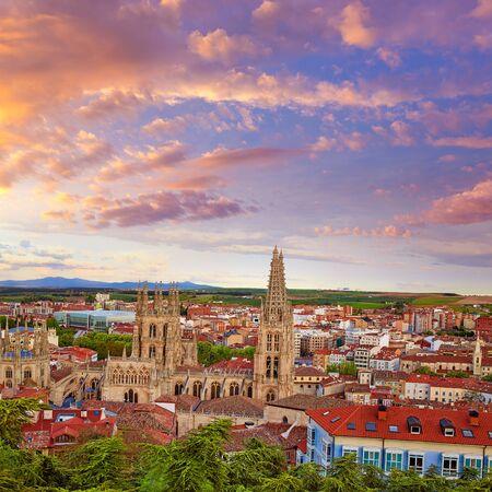 camino de santiago: Burgos aerial view skyline sunset with Cathedral in Castilla Leon of Spain